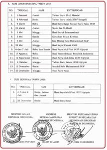 surat edaran menteri tentang libur nasional 2016