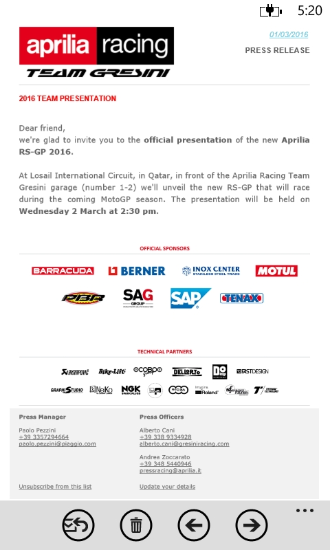 undangan Aprilia Racing Team Gresini